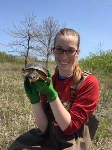 Erin poses with a Blanding's turtle