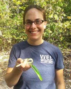 Ellen holds a rough green snake!