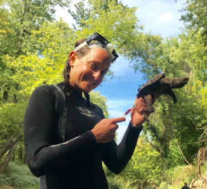 Julie Sheldon holds an Alligator Snapping Turtle.