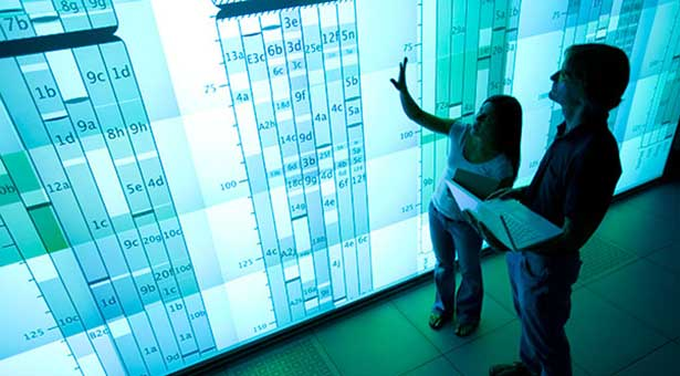 [Large illuminated data visualization at the National Center for Supercomputing Applications]