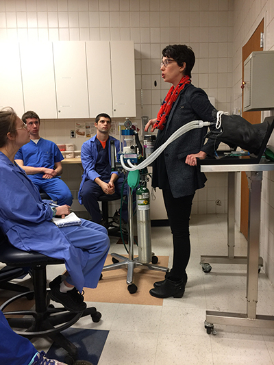 Students observe IV catheter placement on manikin