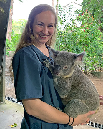 [Kirsten Andersson holds a koala]