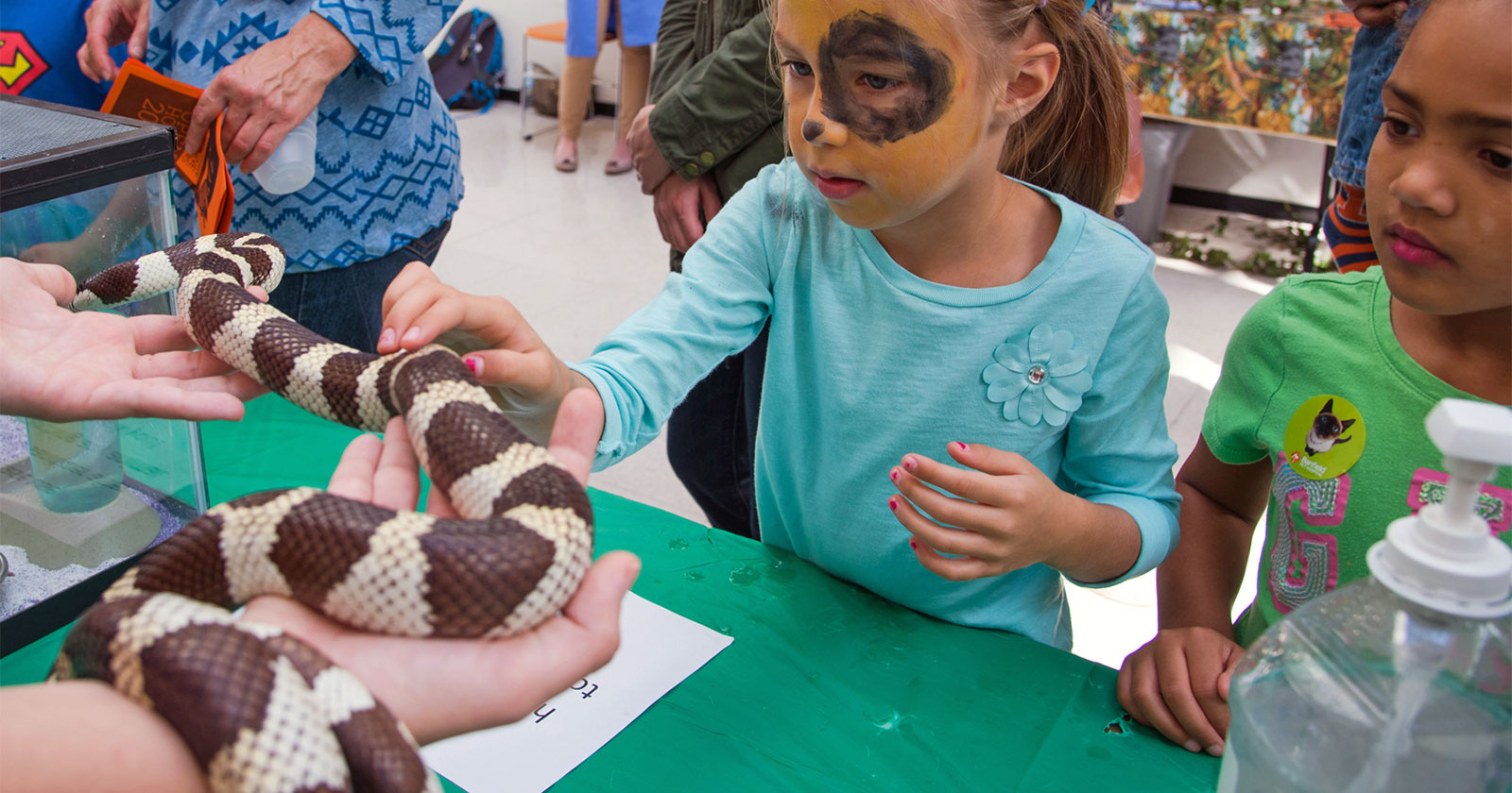 [child touches snake at Open House]