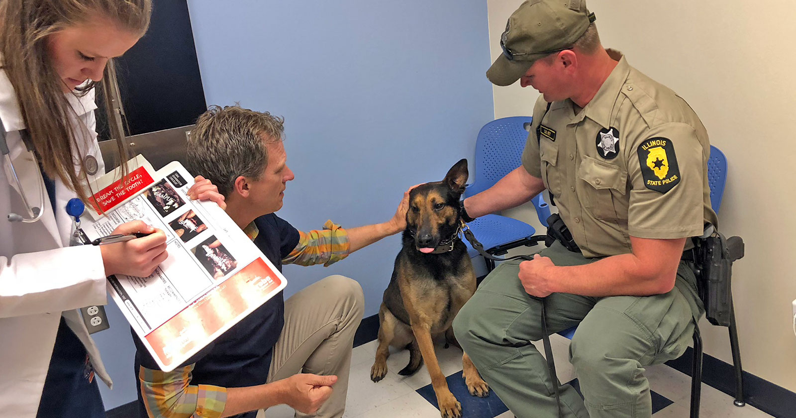 [Dr. Steve Juriga examines K9 officer Dax at the College of Veterinary Medicine in Illinois]