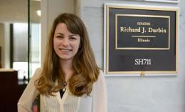 [Kate Varela outside Sen. Richard Durbin's office in Washington, D.C.]