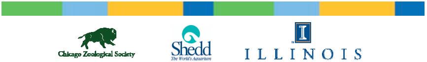 [logos of Brookfield Zoo, Shedd Aquarium, and the University of Illinois]