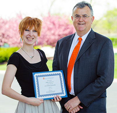 [student winner of the 2015 Lily Ireland scholarshihp and dean Peter Constable]