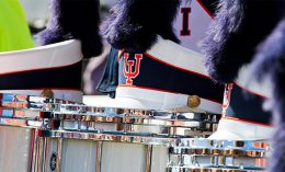 [hat and drums from the Marching Illini]