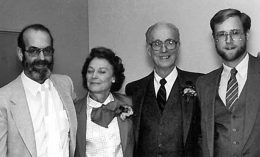 [Dr. Ken Todd, Mrs FItzgerald, Dr. Paul Fitzgerald, and Dr. Daniel Snyder in 1983]