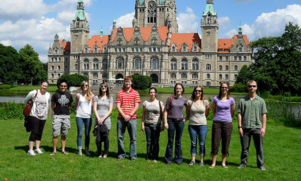 Students pose in Germany.