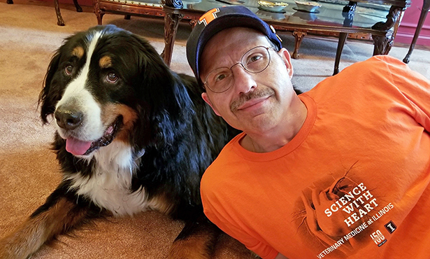 [Prof. Joseph Martocchio and his dog Mazzy]