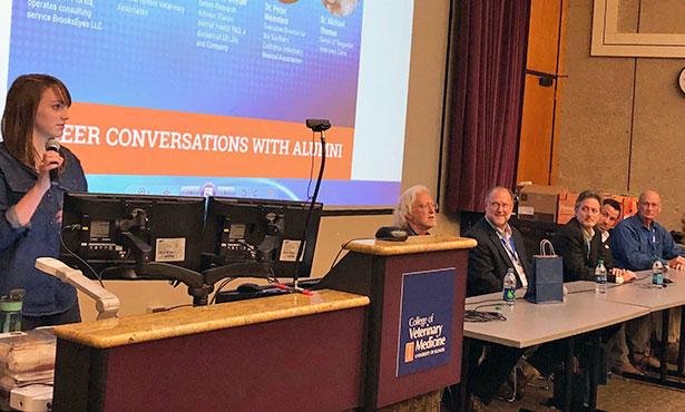 [Illinois veterinary alumni speak to students]