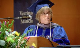 [Dr. Anne Barger delivers the address to the Class of 2017 at graduation]
