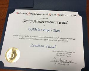 [Fazal's award from NASA]
