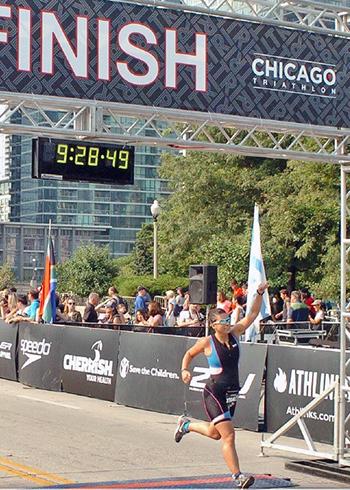[Anita Kalonaros finishes the Chicago Triathlon]