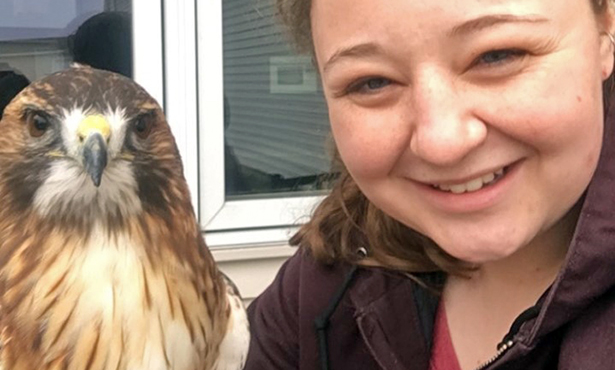 [Mackenzie with Odin the red-tailed hawk]