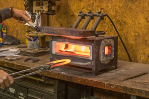 horseshoe coming out of a forge