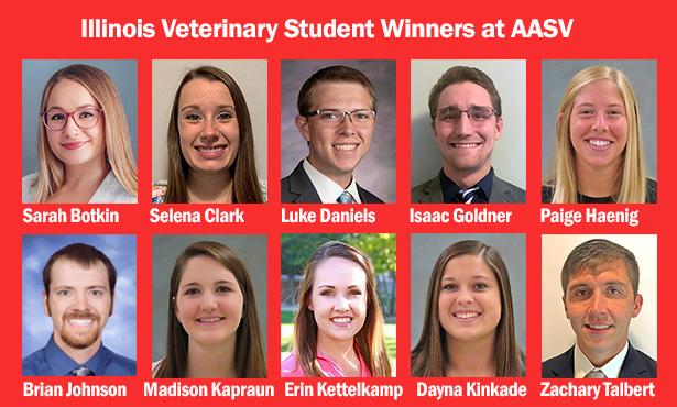 [headshots of 10 student winners from swine meeting]