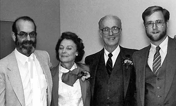 [Dr. Ken Todd, Mrs FItzgerald, Dr. Paul Fitzgerald, and Dr. Daniel Snyder in 1983]