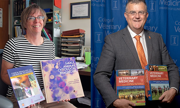 [Dr. Anne Barger and Dean Peter Constable with their recent textbooks]