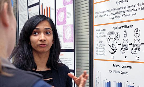 [Saniya Rattan explains her work to a listener]