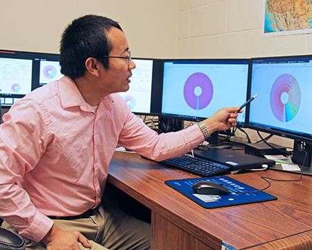 [Dr. Leyi Wang with genomic data]