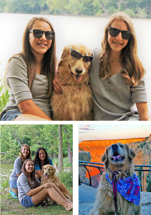 [photos of Sophie and her family]